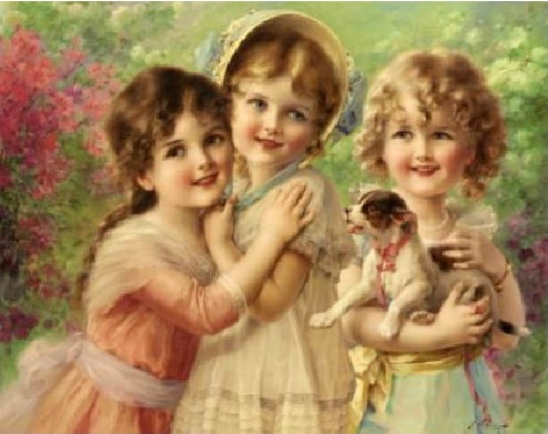 Top Grade 100% Precise Printed Cross Stitch Kit Three Little Angel Girl Stitch European Styles Embroidery Set 70*58cm Large Size