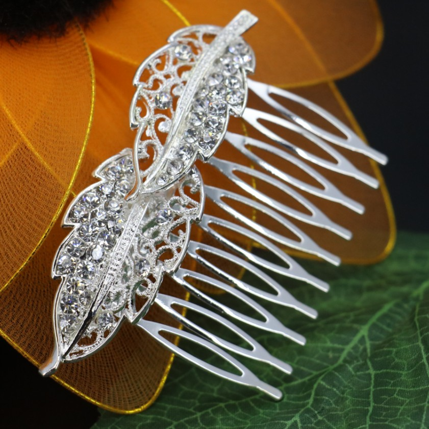 New wholesale Bridal Comb Hair Wedding Jewelry Accessories Trendy Women Hairwear Rhinestone Leaf Comb Free shipping(China (Mainland))