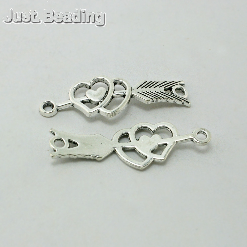 New Zinc Alloy Cupid Arrow Heart Charms Antique Silver Plated 30pcs/lot 13*39mm Pendant for DIY Jewelry CN-BJI806-69(China (Mainland))