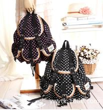 10 pcs/lot Polkadot Girls Canvas backpack