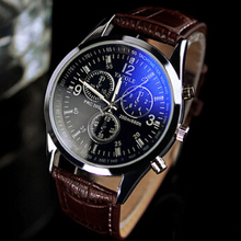 Senior business men watches special blue mirror Leather strap high quality black/brown quartz watch Wrist Gift Watches men clock