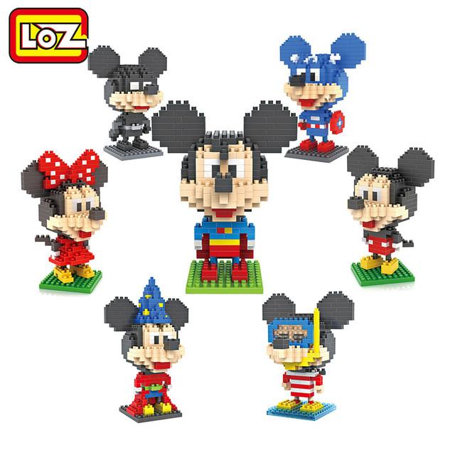 LOZ Строительные Блоки Супермен Бэтмен Маг Diver Капитан Америка Микки и Минни Игрушки для Детей Среднего Размера 9 + Подарок