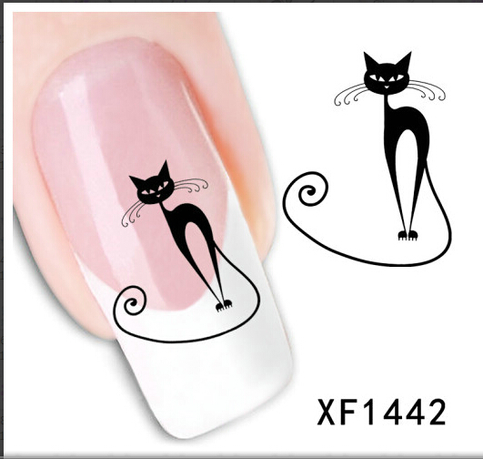 Japanese style watermark 5Sheets 3D Design cute DIY black cat Tip Nail Art nail sticker nails Decal tools - Fine living, start here store
