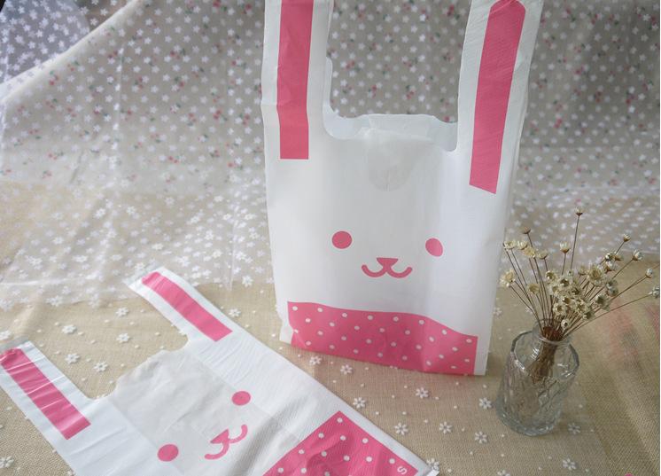 Super Cute pink rabbit Plastic Gift Bags 18x34x10cm(China (Mainland))