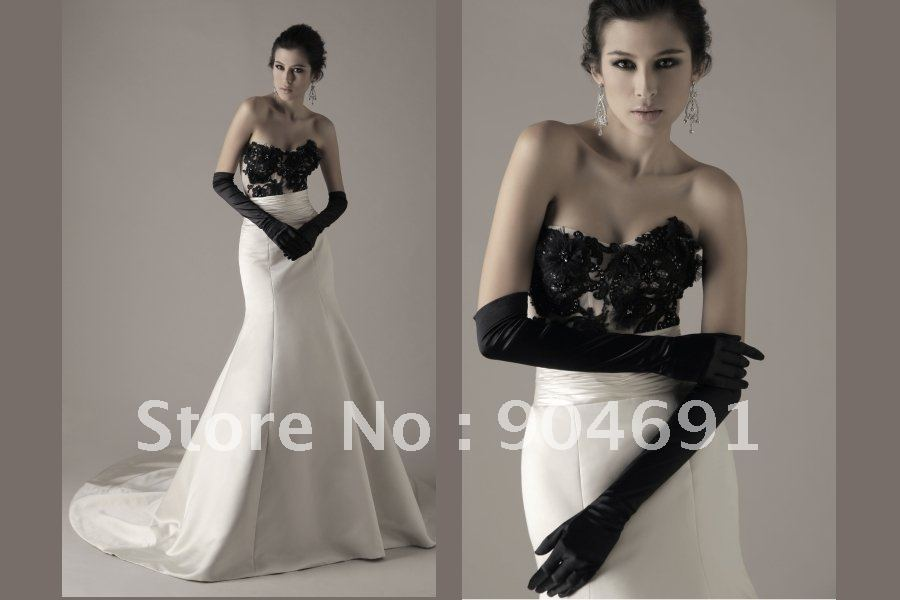 Black And Ivory Lace Bridesmaid Dresses