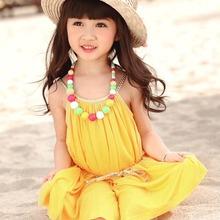 Summer vest dress Cute beach dress kids Lovely candy color Sleeveless Princess dress Baby Girl Dresses