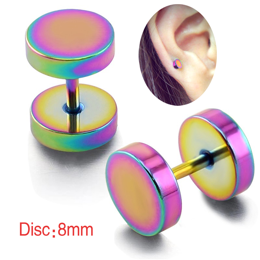 1 pair 316L Surgical Stainless Steel Multi Rainbow Fake plug Gauge Ear Piercing Earrings Studs Cartilage Earring(China (Mainland))