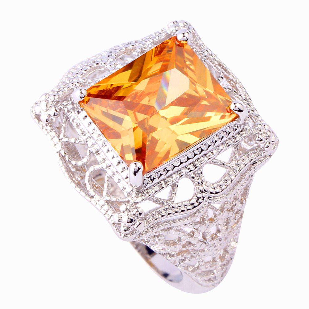 2015 Exalted Retro Style Uni Rings Emerald Cut Morganite 925 Silver Ring S