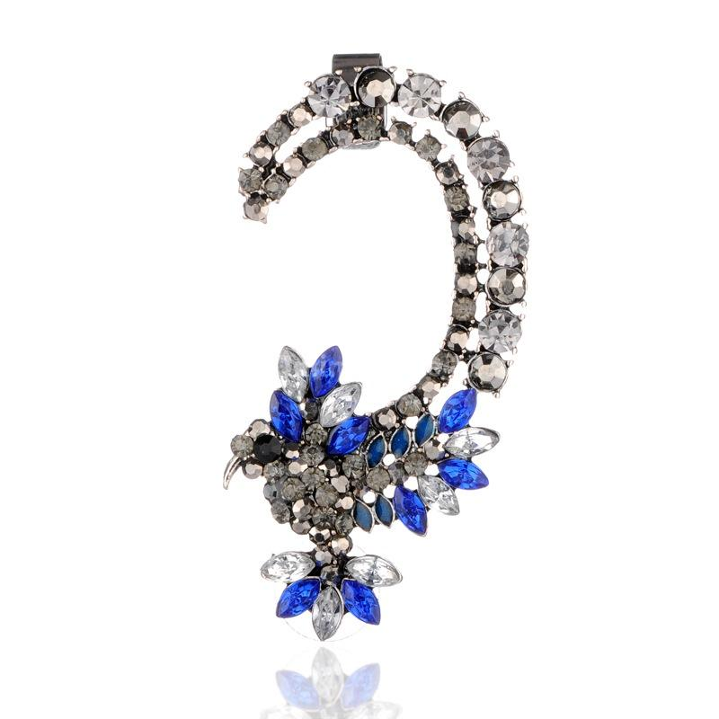 Alloy Acrylic Rhinestone Shourouk Cuff Earrings for Left Ear,with Rhinestone and Brass Earring Findings, Antique Silver,(China (Mainland))