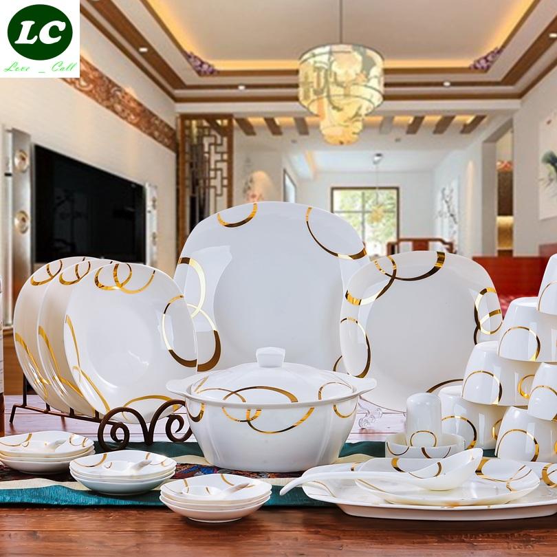 free shipping dinnerware set ceram 56pcs plates bowls dishes spoons set high quality tableware kitchenware(China (Mainland))