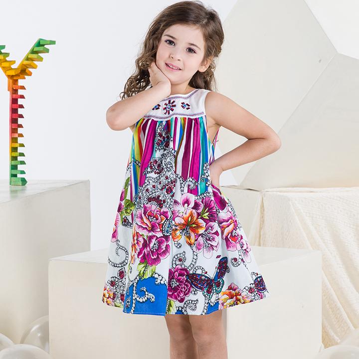 2015 Summer Brand Baby Girls Beach Dresses Floral Print Ethnic Style Children Vestidos Girl Suspender Dress Catimini Vest Dress(China (Mainland))