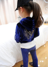 Autumn Fashion Children's hot drill treasure to suit Velvet suits of the girls(China (Mainland))
