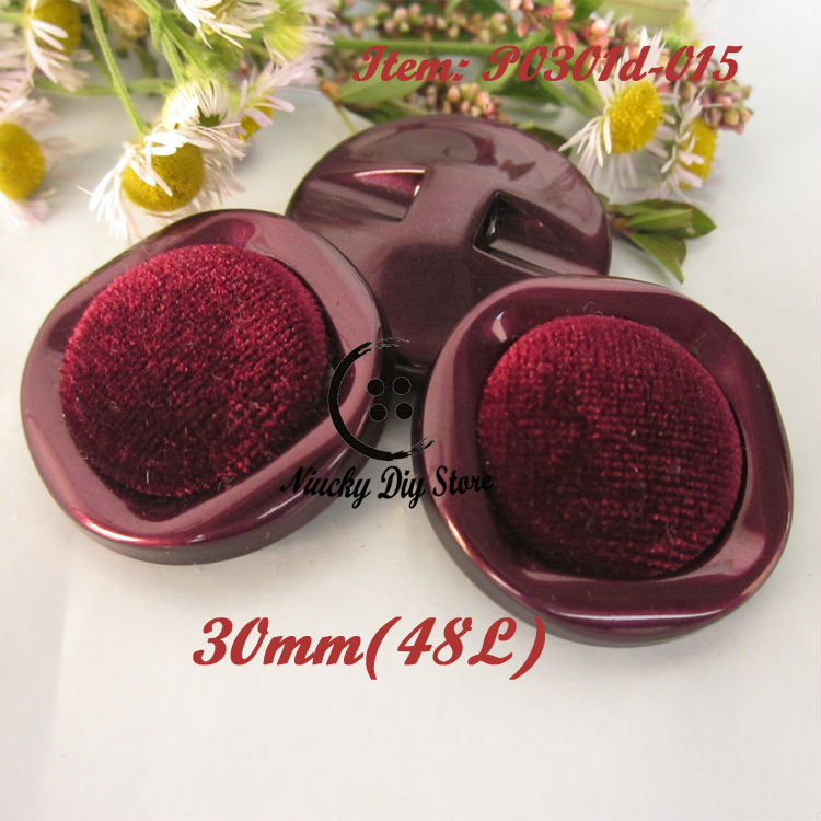 144pcs 30mm(48L) dark red flannel lady coat buttons woolen coat buckles winter clothing accessories wholesale(China (Mainland))