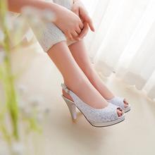 Горячая распродажа! Новый 2015 года большой размер 31 — 43 мода женская обувь сексуальная высокие каблуки блестками ткань вамп рыбы рот сандалии CHD-C20