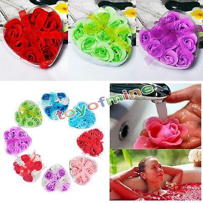 9Pcs Bath Body Favor Flower Colorful Rose Petal Soap Wedding Party Decoration(China (Mainland))