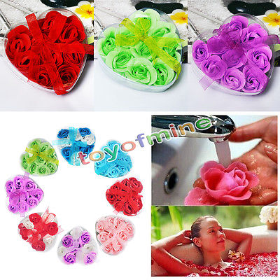 9Pcs Bath Body Favor Flower Colorful Rose Petal Soap Wedding Party Decoration(China (Mainland))