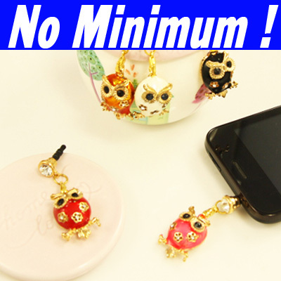 Hip Hop Gold plated owls pendants beads mobile cell phones earphones headphones jack anti dust cap plug for 2013 new mbc-b35(China (Mainland))
