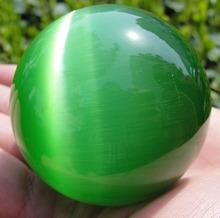 Горячая распродажа азии кварц зеленый Cat Eye кристалл исцеления бал сфера 60 мм с подставкой Q1