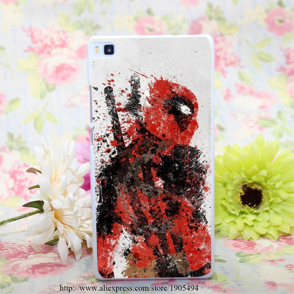 363HQA Deadpool Art Hard White Painted Case Cover for Huawei Ascend P6 P7 P8 P8 Lite Colorful Protective Case(China (Mainland))