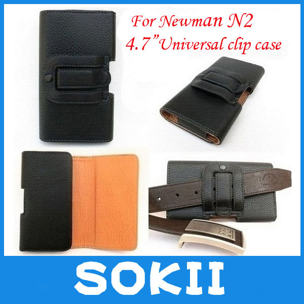 For FreeLander i20 Newman N2 Leather Case Belt Clip Horizontal Pouch Cover,4.7 inch Universal holster case(China (Mainland))