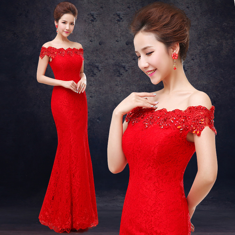 Elegant Long Evening Dress Party Dresses Mermaid Off The Shoulder Boat-Neck Embroidery Lace Red Evening Dress Vestido De Renda(China (Mainland))