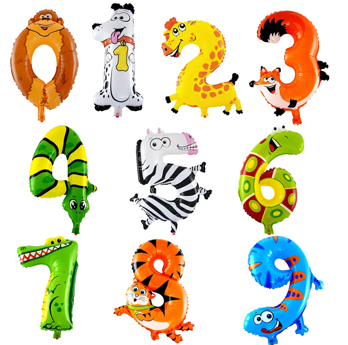 1PCS 16inch 2015 Animal Number Foil Balloons Kids Party Decoration Happy Birthday Wedding Decoration Ballon Gift(China (Mainland))