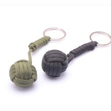 Security Protection B039 Black Monkey Fist Steel Ball Bearing Self Defense Tool Lanyard Survival Key Chain 2 Colors