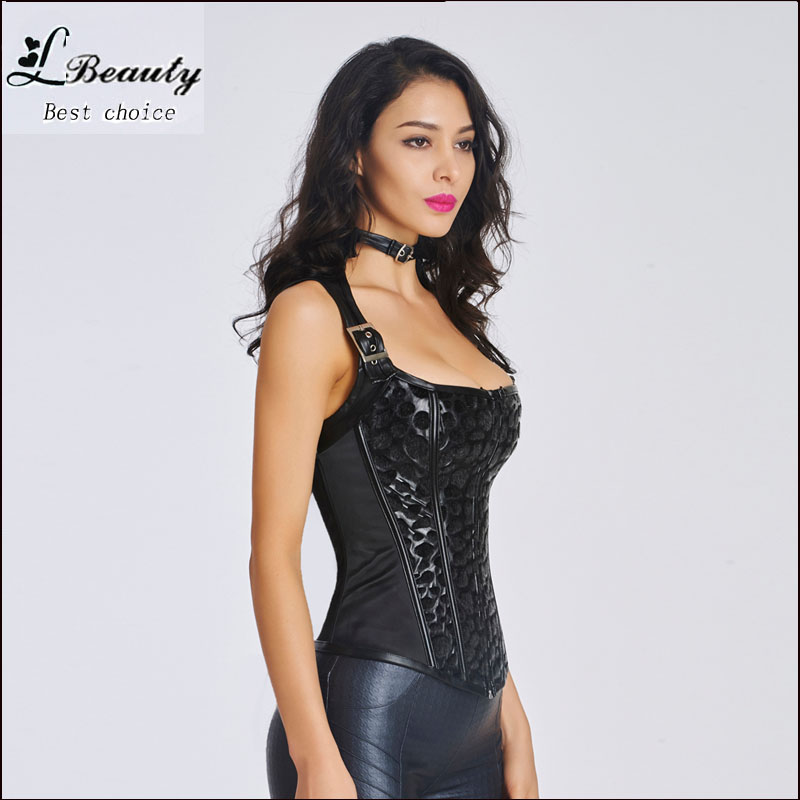 Women pu leather corset waist trainer hot shaper bustiers waist training corset sexy lingerie steampunk corset gothic clothing-5(China (Mainland))