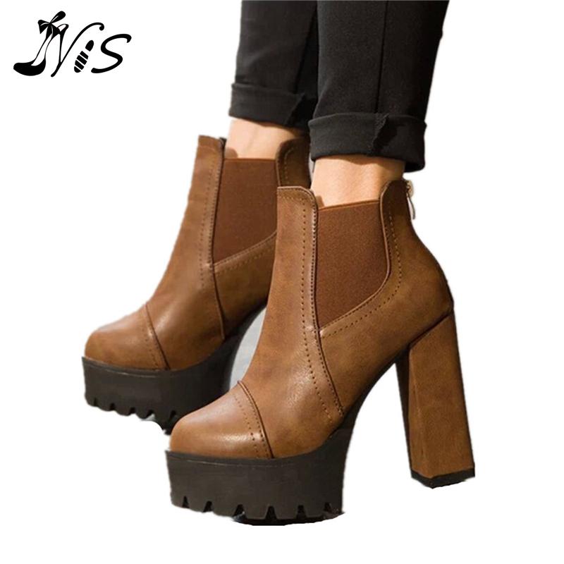New Autumn Winter Women Ankle Boots Back Zipper Mid High Block Thick Heels Shoes Women's High Waterproof Platform Leather Boots
