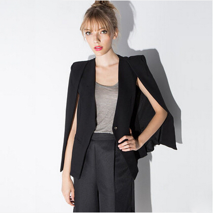 Blazer Feminino 2015 Autumn New Arrival Fashion Casual One Button Slim Cape Blazer Office Suit Jacket Plus Size Black Blazer(China (Mainland))