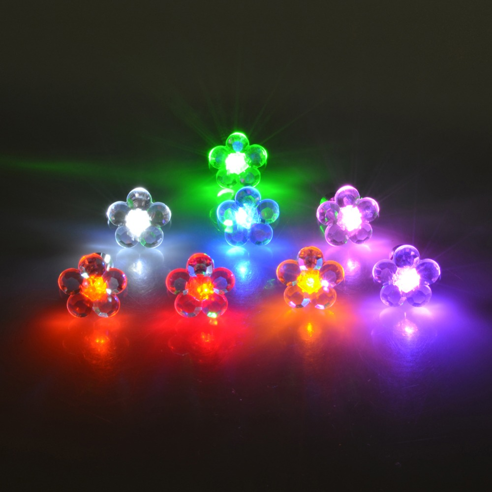 1Pair Flower Shape LED Earring Light Up Bling Ear Studs Earrings Dance Party(China (Mainland))