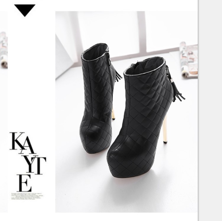 Hot-selling 2016 New Fashion High Fine with Waterproof Boots Women's Boots Elegant Sexy Round Toe Ankle Boots Women Pumps