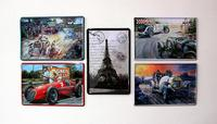 Metal painting poster painting decoration fashion red antique car automobile race