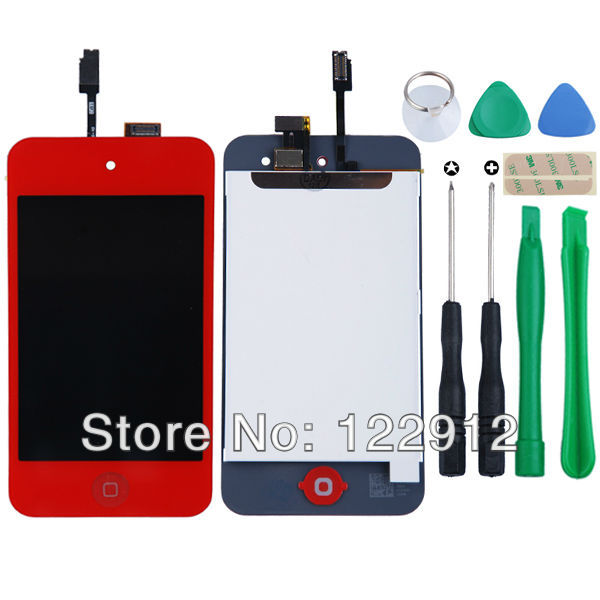 Red LCD Screen Digitizer Assembly Replacement For ipod Touch 4th Gen Color Lcd Replacement Screen + Free Tools Free Shipping(China (Mainland))
