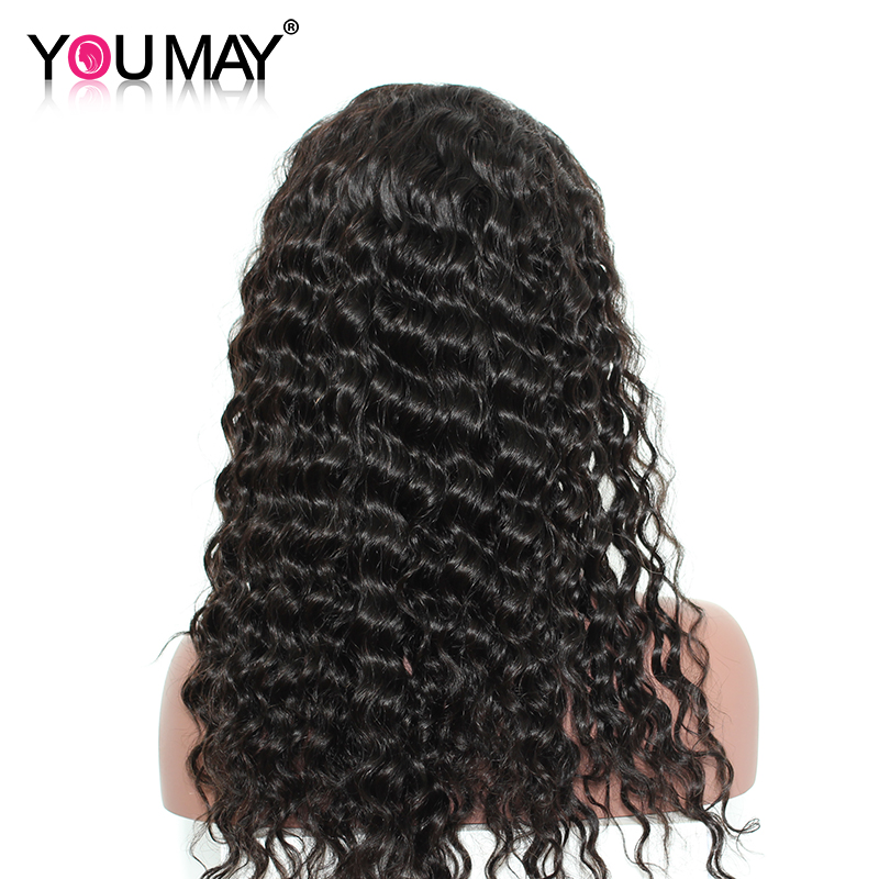 Deep Wave 360 Lace Frontal Wigs Brazilian Remy Hair Pre Plucked Natural Color Human Hair Wigs For Black Women You May Hair