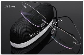 Bestseller lightest flexible rimless non-screw 6g beta pure titanium silver eyeglasses optical frame + 1.61 aspheric CR-39 lens