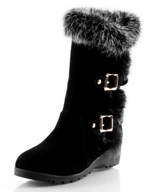 2015 winter style women's snow boots genuine leather rabbit's hair ladies' boots fashion warm boots plus large size EUR 34-43(China (Mainland))