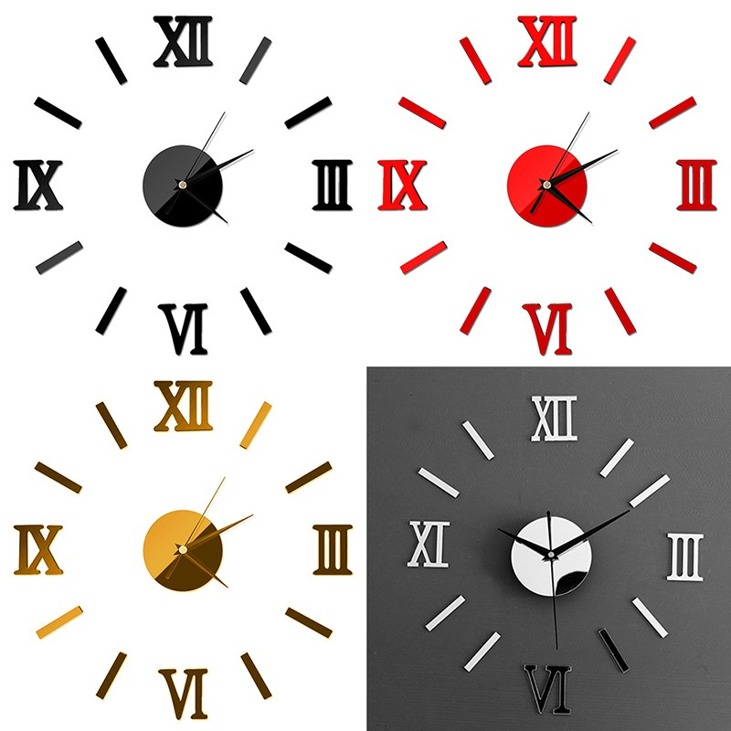Diy 3d Roman Numeral Wall Clock Modern Art Design Wall