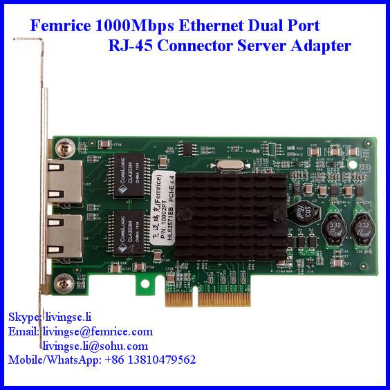 1000Mbps Dual Ports Gigabit Ethernet RJ-45 Connector PCI-Express x4 Server Network Card - Femrice (China store Technology Co., Ltd)