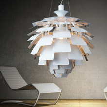 Buy Nordic Modern Pine Cone Pendant Lights Fixture White/Silver Artichoke Lamps Home Indoor Lighting Aluminium Hanging Lamp D60cm for $499.00 in AliExpress store