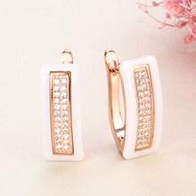 Новые серьги-гвоздики u-образной формы для женщин, ювелирные изделия для ушей, черные, белые настоящие натуральные керамические серьги аксе...(China)