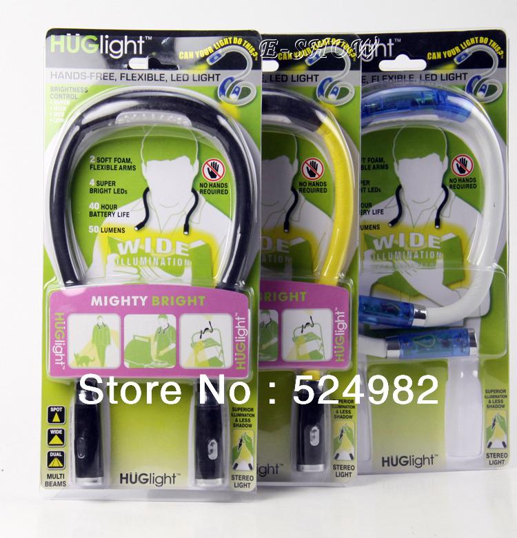 2014 NEW - 4 LED Hands-Free Flexible Neck Night Light,HugLight,2pcs/lot,Reading Book LED Lamp,Free Shipping(China (Mainland))