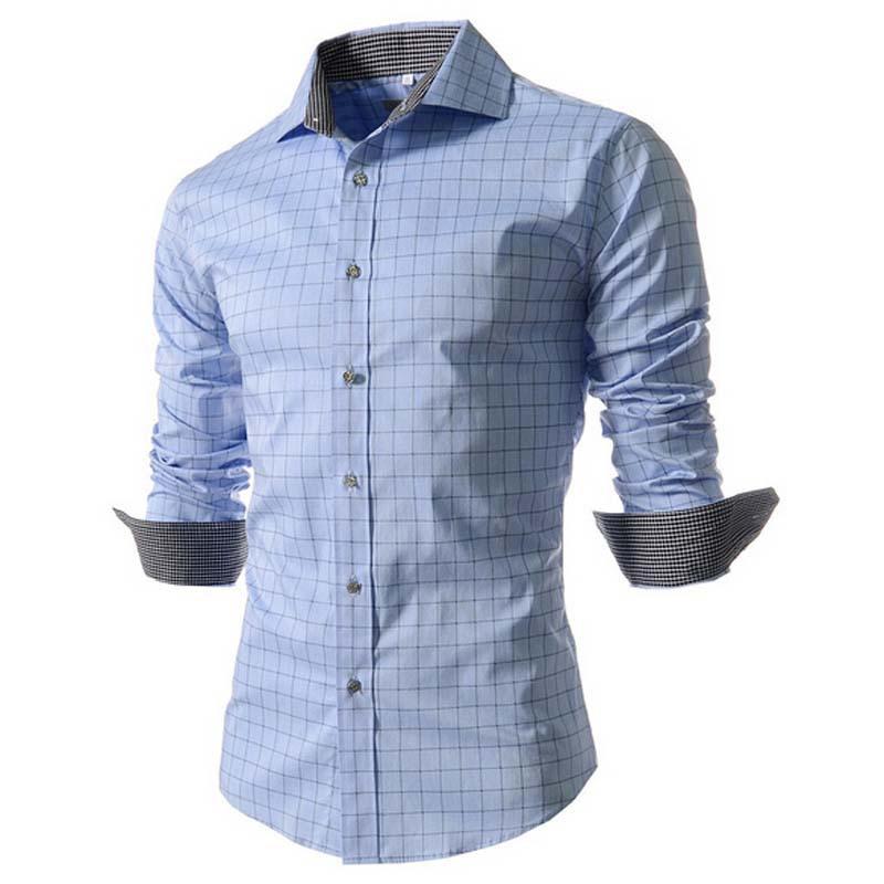 European American Style Men Plaid Shirt Long Sleeve Fashion Casual Check Shirt Men Slim Fit Camiseta Manga Longa Masculina(China (Mainland))