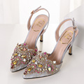 2016 Summer New Rhinestone Women Pumps Valentine Shoes Pointed Toe High Heel Wedding Shoes Sexy Party