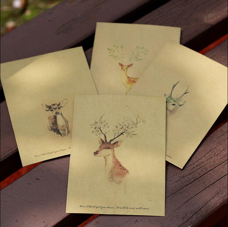 4PCS/lot Deer design Retro Vintage Kraft Paper Envelopes16*11cm Cute Cartoon Kawaii Paper Korean Stationery Gift 1638(China (Mainland))