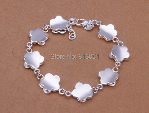 Free shipping Jewelry Bracelet Kawaii Brass with 1 7Inch extender chain Flower real silver plated nickel