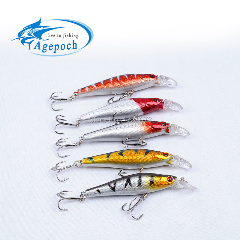 Agepoch 5pcs 3D Laser Treble Hook Wobbler Roll Feeder Fishhook Carp Fly Tackle Peche Sinking Bait Artificial Minnow Fishing Lure(China (Mainland))