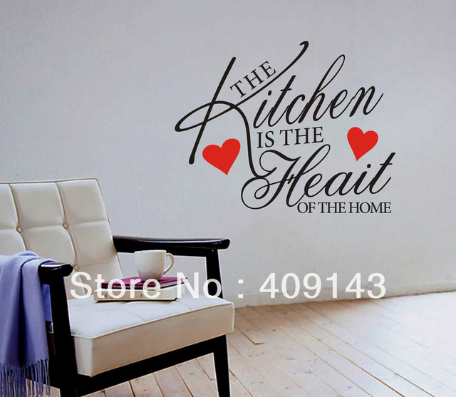 The Kitchen is the Heart Shaped Removable Vinyl Wall art quote Sticker DIY home Decal Decoration Korean refrigerator removable