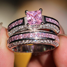 Victoria Wieck Princess cut Pink sapphire Simulated diamond 10KT White Gold Filled engagement Wedding Band Ring Set Sz 5-11 Gift