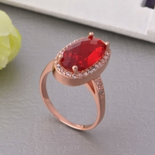 Whole Sale Rose Gold Wedding Rings For Women With Huge Ruby Purple Imitation Gemstone Jewelry joias